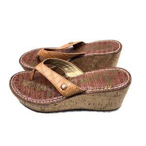 SAM EDELMAN | Romy Cork Wedge Sandals | Tan | 7.5